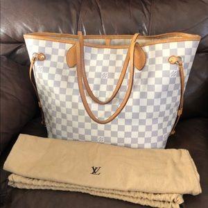 Authentic Louis Vuitton Neverfull MM Azur Dust Bag